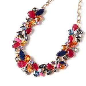 jcrew red crystal statement necklace